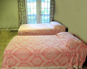 Vintage Morgan Jones pink woven bedspread Twin size 2 avail