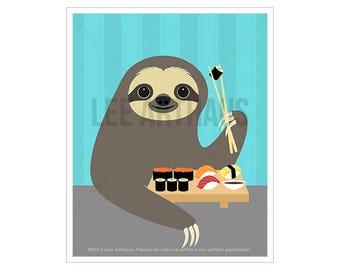 44J Modern Animal Art - Sloth  Eating Sushi Wall Art - Sushi Print - Sloth Wall Art - Sloth Poster - Sushi Decor - Sushi Nursery Art