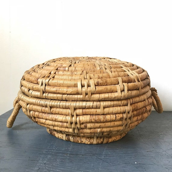 woven straw coil basket with handles - round lidded basket - sewing basket - boho home storage