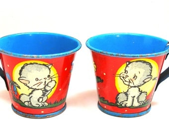 50s Tin Toy tea cups, Kitty graphics by Ohio Art. Made in the USA.