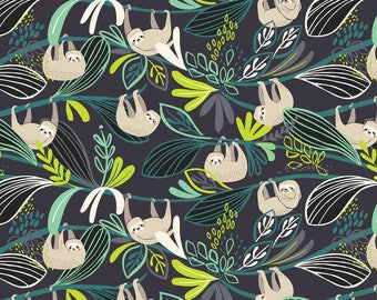 Sloth Green - Rainforest Slumber - Katy Tanis - Blend Fabric 100% Quilters Cotton 124.105.01.2