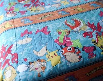 Vintage Pokemon bedspread - twin - bright colors - fun illustrations - 1990s