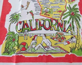 Vintage 1940s California Tea Kitchen Towel