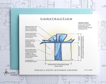 Project Birthday Present (Blue) - Instant Download Printable Art - Construction Series