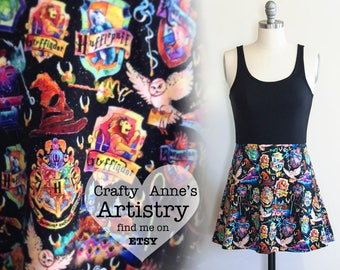 Women's Harry Potter Dress or Skirt - Black Watercolor Hogwarts Houses Print, Dress for Women - Gryffindor, Ravenclaw, Slytherin