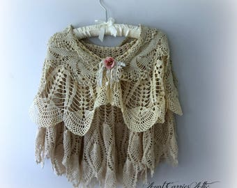 Shawl, Cape, Boho Chic, Bridal, Wedding, Mother of Bride, Shabby Romantic, Layers of Vintage Crochet, Victorian Inspired,