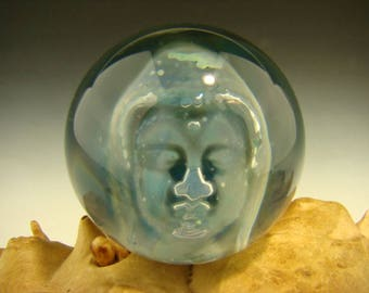 Glass Art Phantom Buddha Marble Lampwork Tibetan Orb Sphere VGW (Ready to Ship)