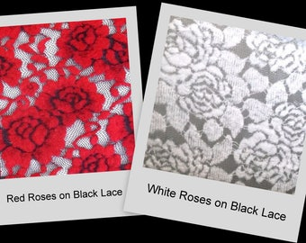 White or Red Rose Soft Furry Felt on Black Lace Stretch Fabric BTY, U Choose!