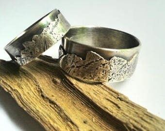 Mountain range sterling silver wedding band set of 2 - Custom choice of widths- rustic- natural -organic- unisex