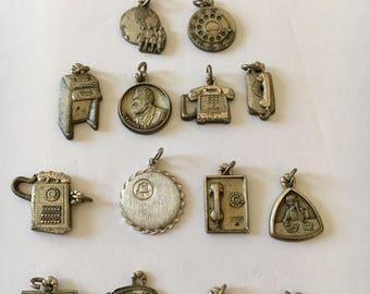 Vintage Sterling Silver  charms, telephone charms, sterling silver, Ma Bell Silver charms, Telephone memorabilia, Telephone Operator