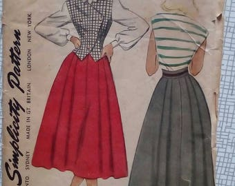 "1950s Skirt & Weskit - 34"" Bust - Simplicity 2710 - Vintage Sewing Pattern"