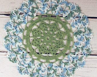 Crocheted Sage Green Blue White Variegated Table Topper Doily - 10 1/2""