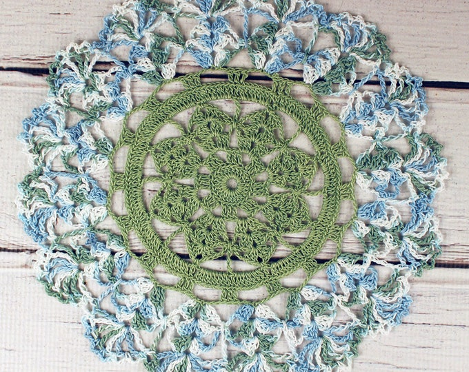 Featured listing image: Crocheted Sage Green Blue White Variegated Table Topper Doily - 10 1/2""