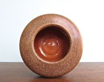 Jean Hazen Michigan Potters Guild Studio Pottery Vase, Signed Gorgeous Speckled-Brown Glaze