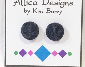 Earrings ~ Black Mottled  Covered Button Earrings~  Free Shipping in the US
