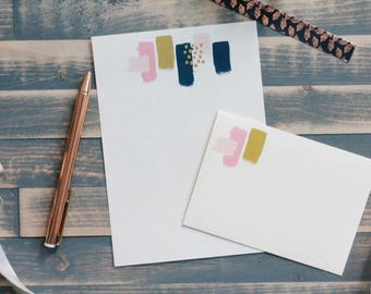 Pink and Gold Painted Letter Writing Set   Writing Paper   Stationery Gift Set   Gift for Her   Stocking Stuffer   Snail Mail