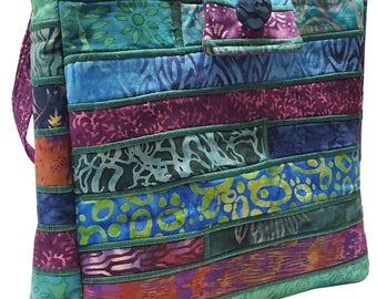 Large Batik Purse in Blue Green and Purple Fabrics
