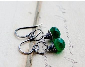 Summer Sale Green Onyx Earrings, Drop Earrings, Emerald Green, Wire Wrapped, Sterling Silver, Dangle Earrings, Kelly Green, PoleStar, Hallow