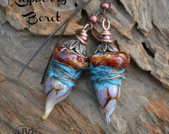 Raspberry Beret, Lampwork and Sari Silk earrings