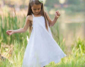 Girls White Beach Dress - White Double Gauze Beach Dress  - Summer Beach Dress - Beach  - White Cotton Summer Dress - Boho Beach Dress