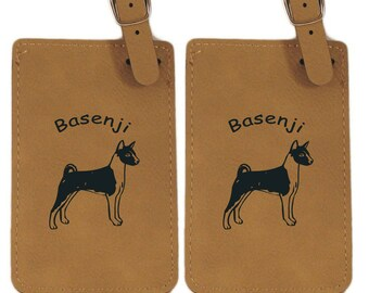 Basenji Standing Personalized Luggage Tag 2 Pack L1437- Free Shipping