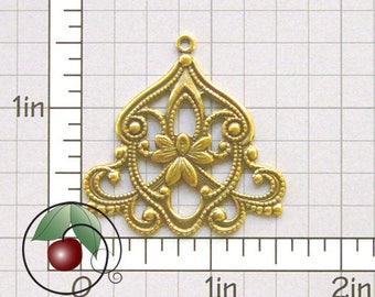 Boho Pendant, Boho Drop Finding, Boho Finding, Bohemian Drop, Boho Stamping, Gold Ox, Gold Plated Brass, 4 Pcs, 1272go4
