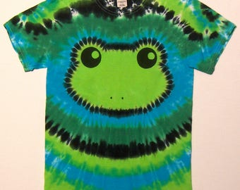 Spring Green Tree Frog Shirt - Size Adult Small - Tie Dye Shirt