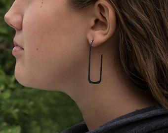 Sterling Silver Hoop Earrings, Long Rectangle, Oxidized Black