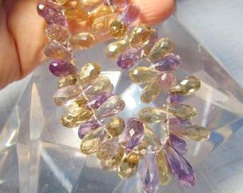 SALE 20% Off Natural Ametrine Briolette Beads 12mm 14mm 16mm 18mm, 8 1/2 Inches,  Elongated Amethyst Citrine Purple Gold Gemstone