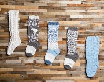 Gray and white Stocking, Christmas Stocking, Christmas Stocking Patterns, Christmas Stocking Design, Family Stockings, Christmas Knitting