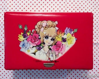 Vintage Japan Junichi Takahara Big Eye Anime Girl Red Vinyl Case with Mirror and Accessories