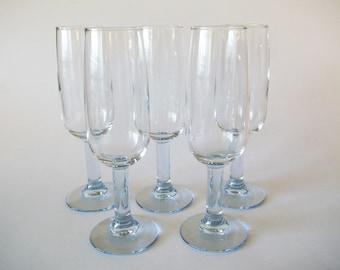 Ice Blue Champagne Flutes Wine Glasses, Modern Decor, Set of 5