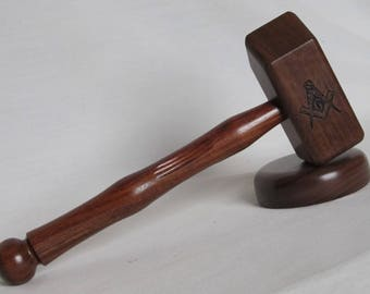 Common Masonic Gavel - Walnut and Grenadilla Wood - Engraved Compass and Square Symbol