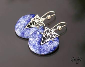 Pacs bleu univers - boucles d'oreille, argent massif et cuivre émaillés - Bohême Chic - Gaelys