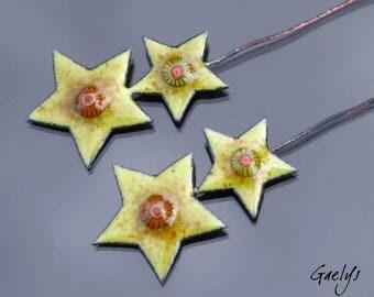 Emaux sur tiges - Double paires de plaque cuivre émaillé pour boucles d'oreille - vert pistache, frits de verre - Gaelys