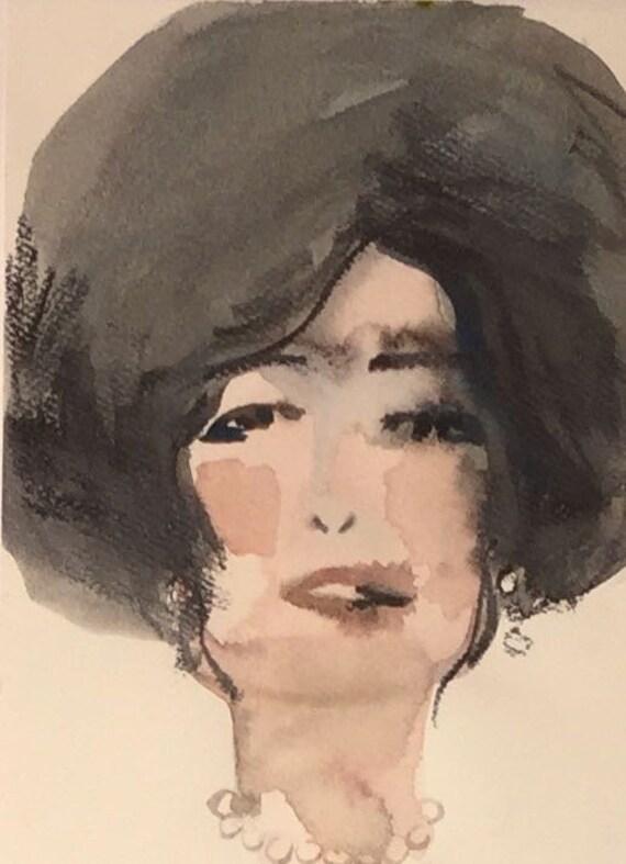 Dah-link portrait- original watercolor portrait painting by Gretchen Kelly