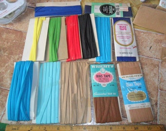 11 Vintage Double Fold Bias tape trims and 2 blue single fold bias tape trims