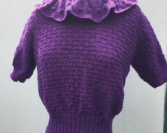 Vintage Style 1930s Jumper Sweater with Ruffled collar -Purple
