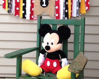 High Chair banner ~Mickey theme ~Burlap Banner ~Black Red White Yellow ~1st birthday ~photo prop ~birthday party decor ~rag tie banner~one