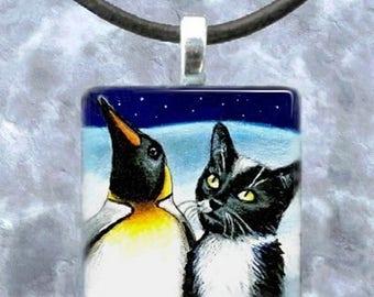 Art Glass Pendant 1x1 Jewelry Necklace Earrings Cat 275 Tuxedo Penguin by L.Dumas