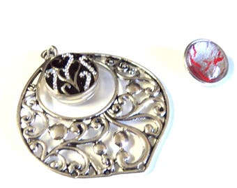 Antique Silver Snap Button Pendant with 2 Snap Buttons, Fancy Teardrop, Fits 18mm Snap Buttons, Jewelry Supplies, Findings
