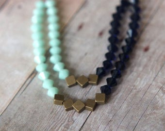 50%OFF Mint Indigo Blue Necklace  Swarovski Crystal Statement Piece  Double Strand  Antiqued Brass  Wedding  Gift Box