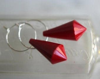50%OFF Red Drop Earrings, Silver Hoops, Red Dangles, Faceted Lucite