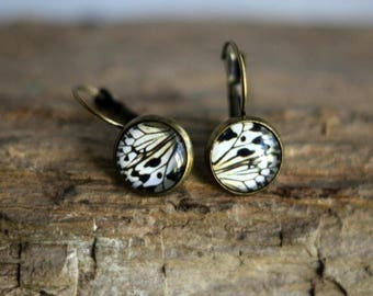 50%OFF Butterfly Wing Earrings, Wing Segment,  Glass Dome, White, Black, Antiqued Brass, Under 10, Stocking Stuffer