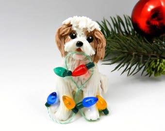 Cavachon Christmas Ornament Figurine Lights Porcelain