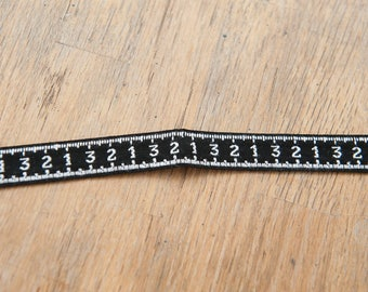 3 yards Vintage Fabric Trim Embroidered Numbers Measuring Tape