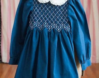 Vintage Girl's Dress -Navy Blue Eyelet Smocked Floral Polly Flinders