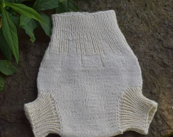 Large All Natural Hand Knit Wool Diaper Soaker, 100% Wool Cloth Diaper Cover, Knit for Baby, Wool Soaker, Wool Baby Soaker Cover