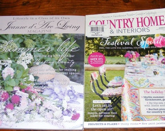 Jeanne d'Arc Living 6th Issue June 2017 and Country Homes & Interiors August 2014 British UK edition  Magazine Lot