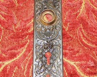 Antique Eastlake or Art Nouveau Skeleton Key Keyhole Metal Cover Back Plate Patina Hardware Escutcheon